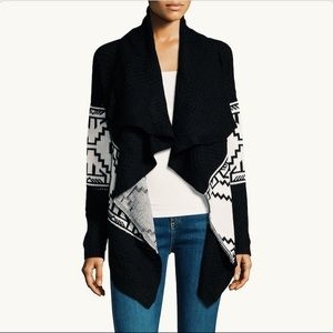 Black Aztec Print Open Cardigan